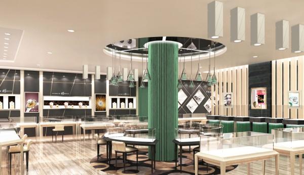 哲里木金店钻石区最新的店面空间设计,整体店面空间的边墙展示柜,选择了通顶的大尺寸展示柜设计效果,已展现珠宝店面空间的壮观大气的店面气势,凸显了珠宝店设计的整体感和视觉冲击力。 哲里木金店钻石区中的圆形柱子,设计成用精磨边玻璃竖条装点而成。带有玻璃绿色的玻璃圆柱在整体钻石店面中构成了店面展示的中心,也形成了此店面设计的精彩之处。 钻石店中主要展示区用以玻璃绿条展示效果的设计,将中心圆形柜台和整体圆形背柜装点成玻璃的展示空间。 店面中的黑咖色墙面高展示柜,在叠加组合的菱形展示柜和三角型展示柜的映衬下,更显示出